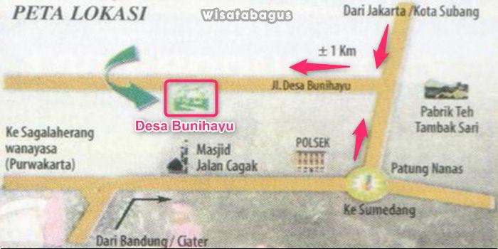 Peta lokasi desa Sri Bunihayu Subang